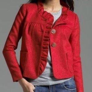 J Crew herringbone red ruffle wool cropped blazer